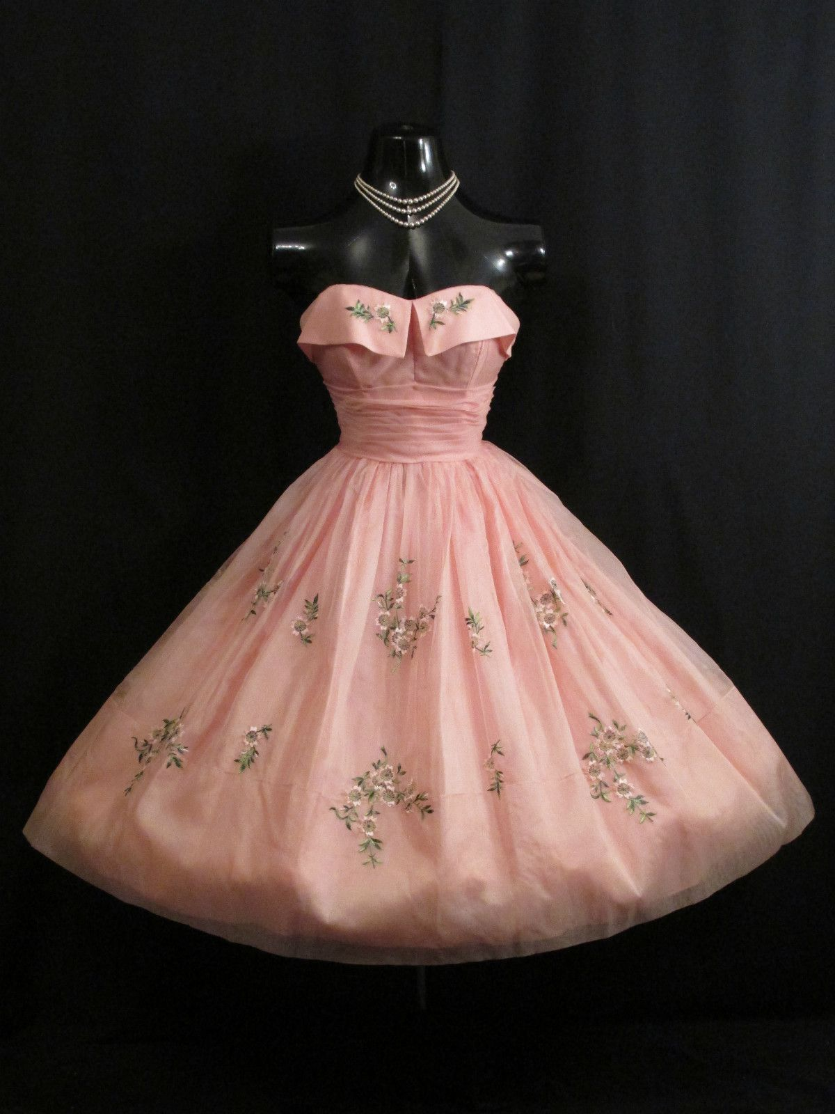 Vintage 1950\'s 50s STRAPLESS PINK Embroidered Silk Organza Prom ...