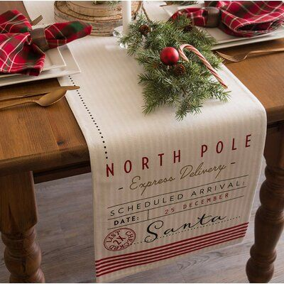 The Holiday Aisle Scarlett 100 Cotton Christmas Table Runner Table Runner Size Christmas Table Runner Santas Workshop