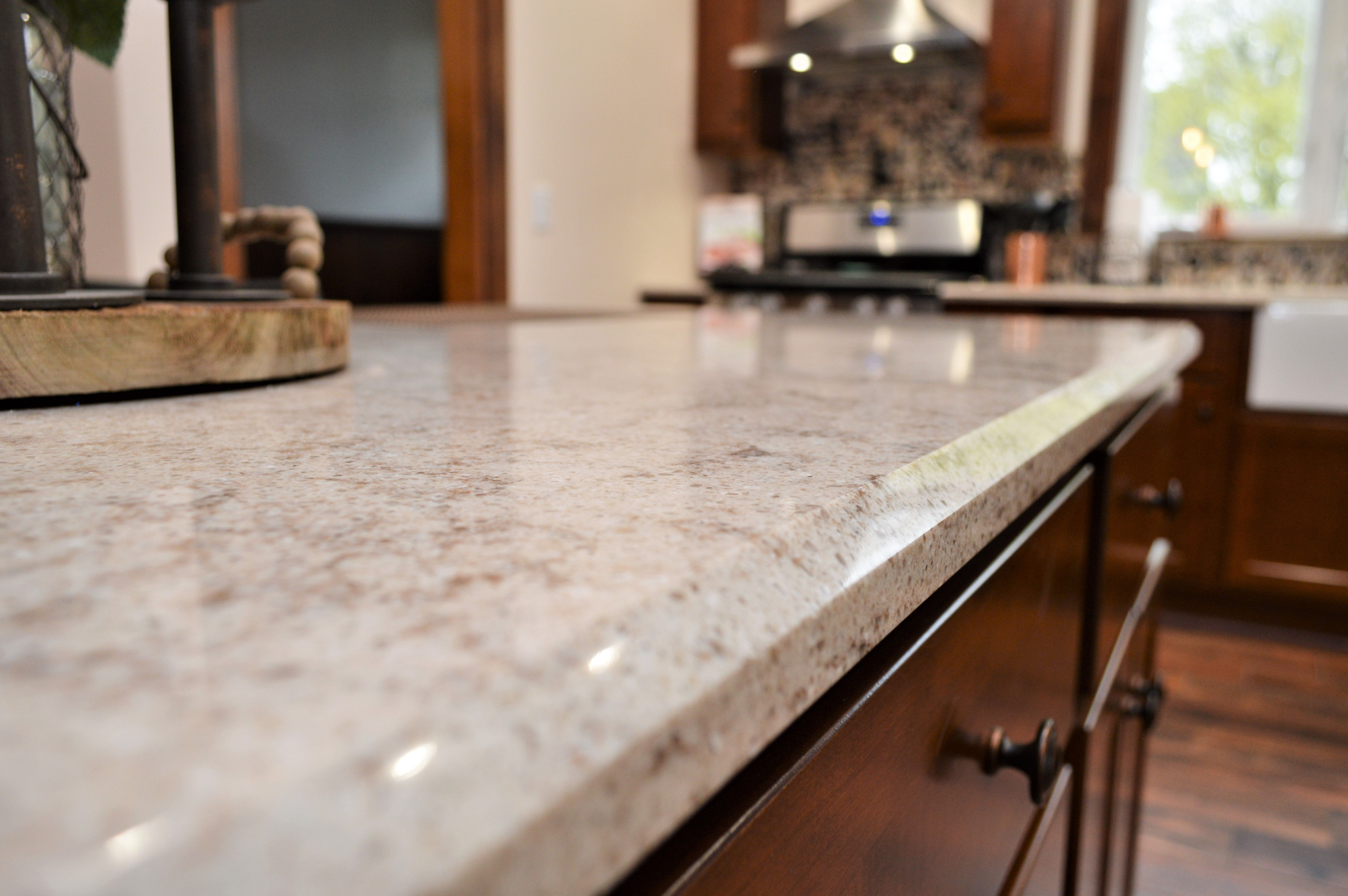 Bailey S Cabinets Hanstone Quartz Counter Top Bevel Edge Detail Walnut Luster Color Quartz Countertops Countertops Baileys