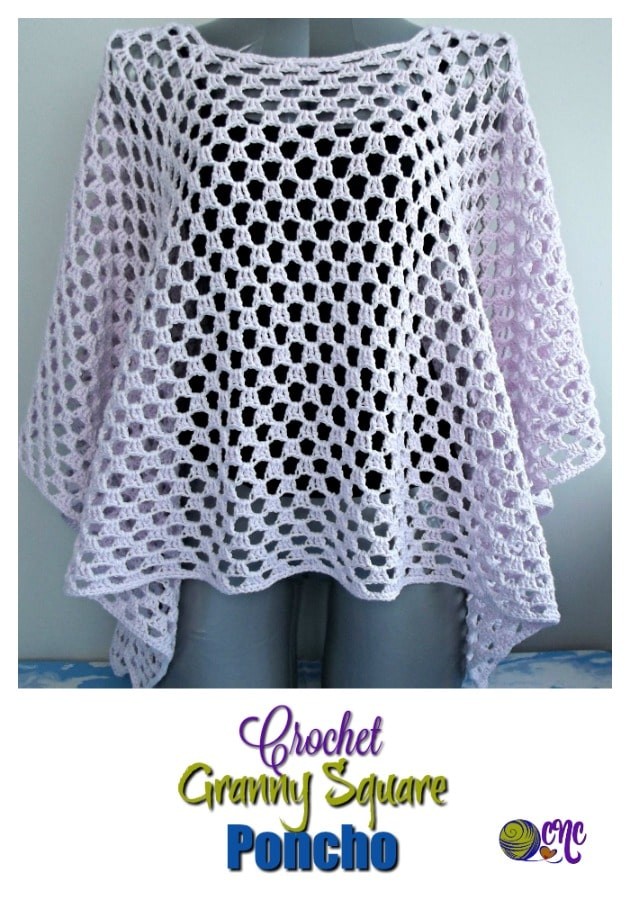 Free crochet pattern for a granny square poncho that is easy to adjust in size from child to adult. It's great for summer, or any other season of the year. #crochet poncho Crochet Granny Stitch Square Poncho - CrochetNCrafts
