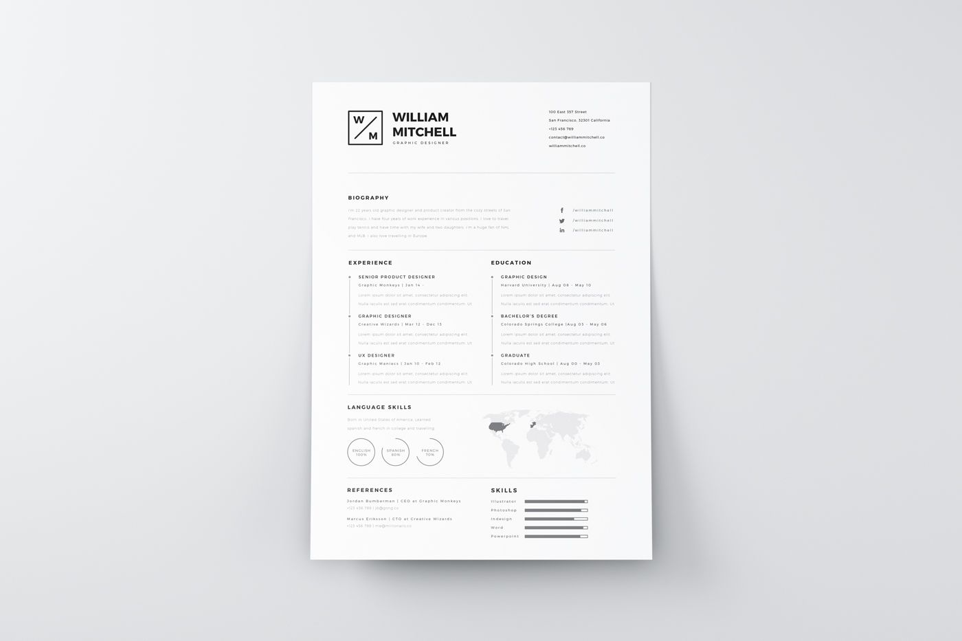 Free Resume Template In A Perfect Minimalistic And Clean Premium