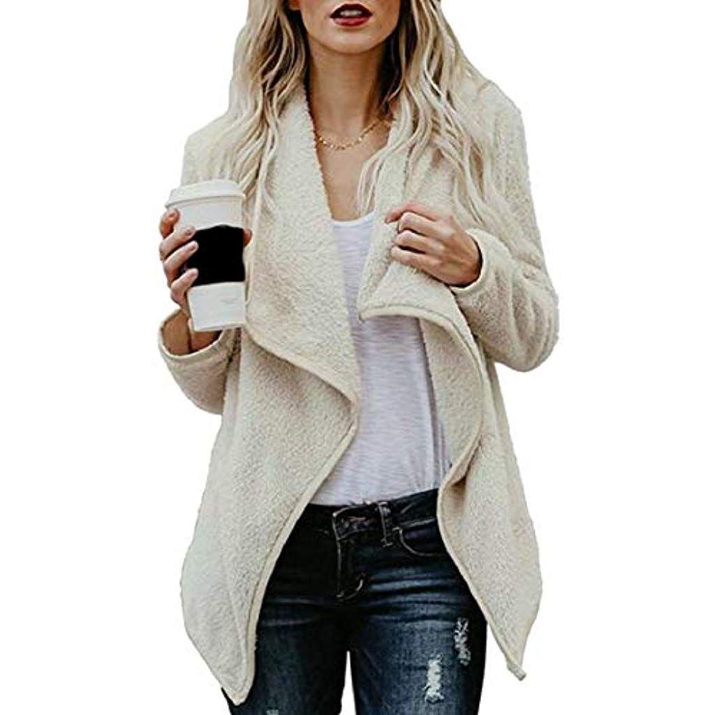 Womens Wide Collar Long Sleeve Blazer Cardigan Asymmetric Side Zip Up Open Front Lapel Top Jackets Coat