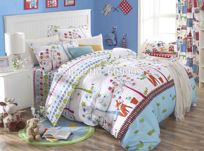 Fox Birds Woodland Bedding S Kids 5 Pieces Bed Set 100 Cotton Standard Us Size