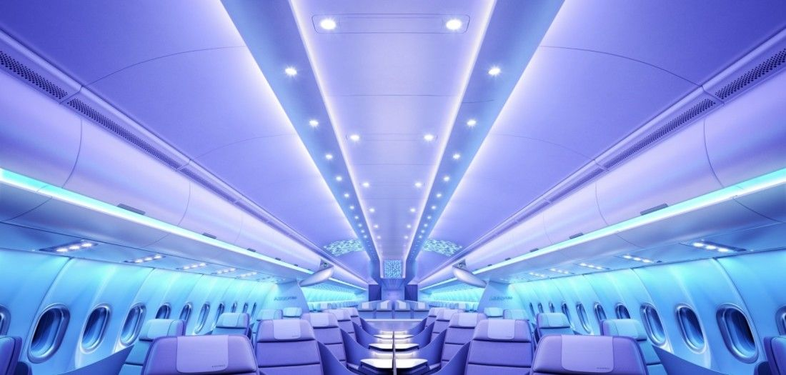 Airbus Let The Web Dictate The Look Of Its New Futuristic Planes Aircraft Interiors Airplane Interior Airbus