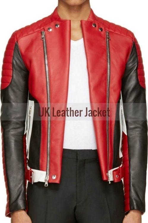 Goatskin Custom Made Men Black Red Biker Leather Jacket Leather