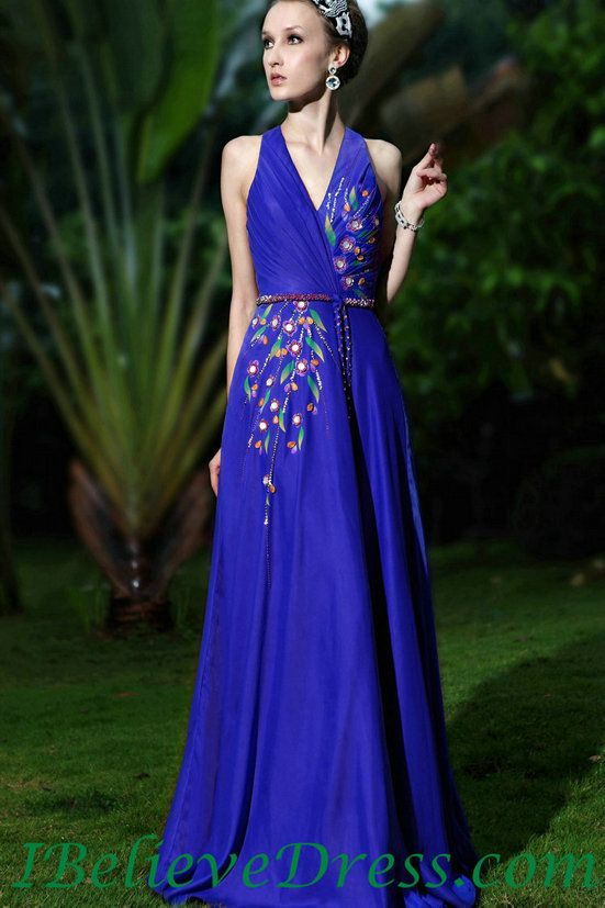 Chiffon Long Evening Dress Blue Full Length Patterns For Sale ...