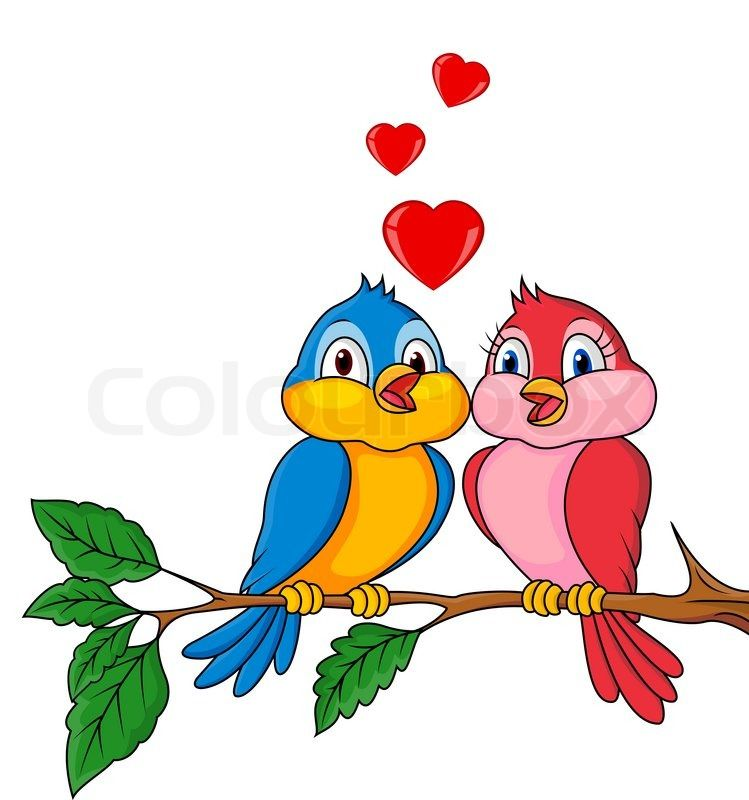 Stock Vector Of Vector Illustration Of Birds Cartoon With Love Cartoon Bird Drawing Bird Drawings Art Drawings For Kids