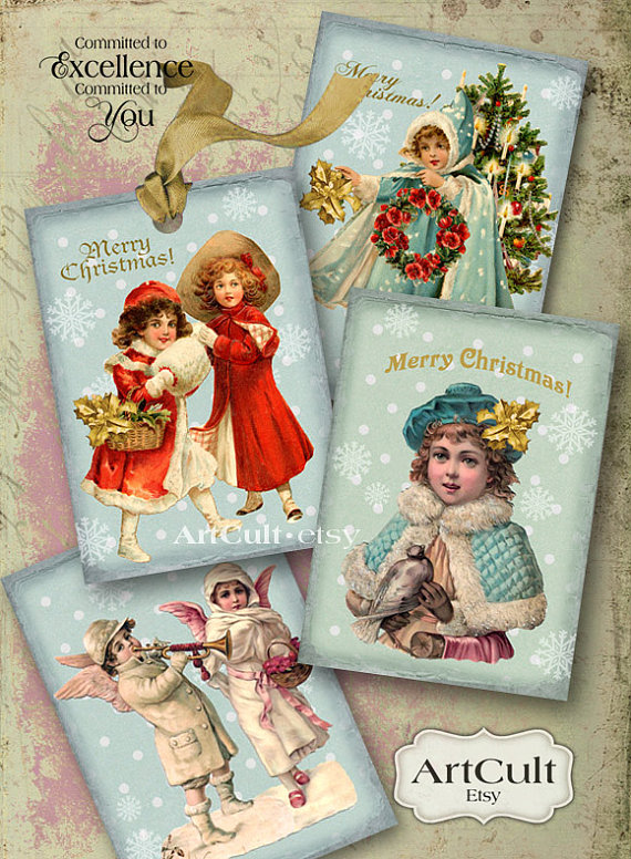 CHRISTMAS SPIRIT Gift Tags Printable Digital Collage by ArtCult