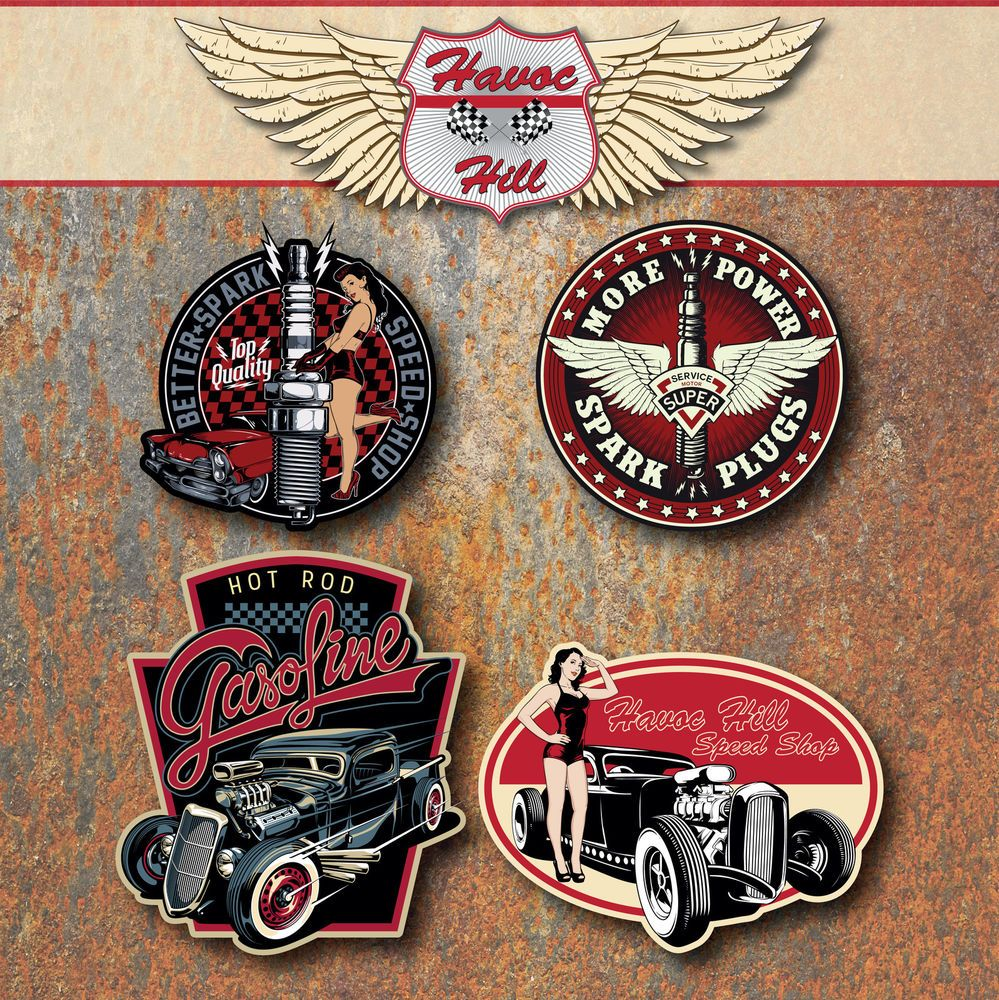 Details About Hot Rod Vintage Custom Car Sticker Set Rat Classic - Custom car stickers and decals