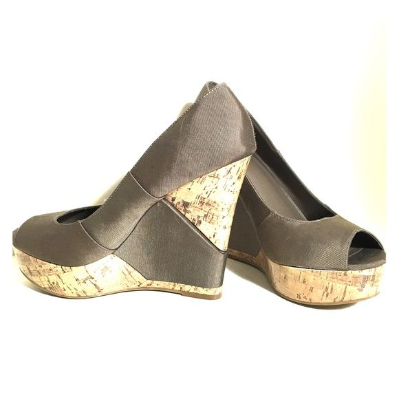 Mossimo Taupe Wedges Cute lacquered cord and dark taupe wedges that have been worn only a handful of times. Mossimo Supply Co Shoes Wedges