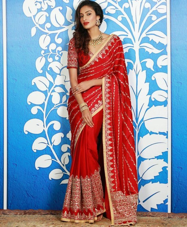 a077879ce80 Red Sari with Gota Embroidered Pallu by Anita Dongre  Embroidered