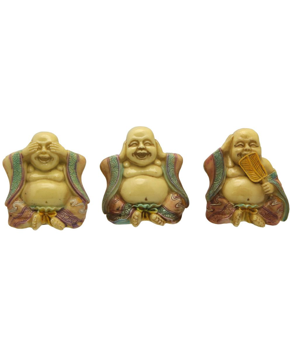 Set of 3 small happy buddha statues see no evil hear no evil say happy buddha likeness is symbolic of joy mirth and contentment and it is said that rubbing the head or belly of a happy buddha statue brings good luck and biocorpaavc Choice Image