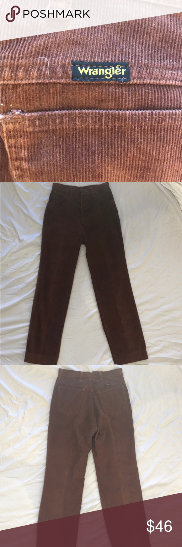 2667b5f4 Vintage Wrangler Corduroy Pants Cute unisex brown corduroy wrangler's.  Classic 5-pocket boot leg cut with zipper button closure. In great  condition!