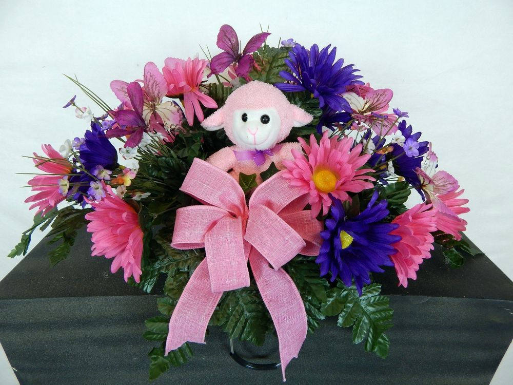 Pink Lamb With Bow Cemetery Memorial Silk Flower Headstonetombstone