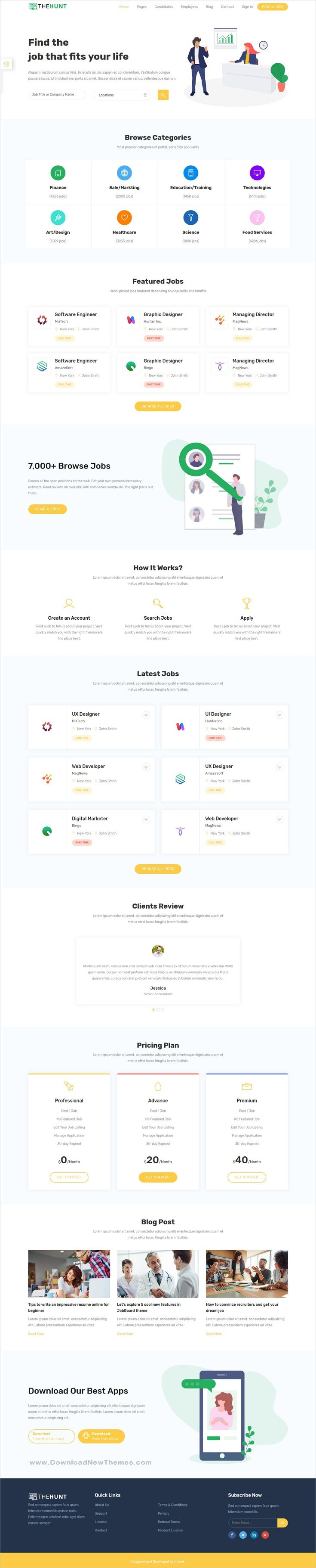 Thehunt Is A Clean And Modern Design 2in1 Responsive Bootstrap Html Theme For Hr Recruitment Agency And Job Portal Website Template Html Website Templates