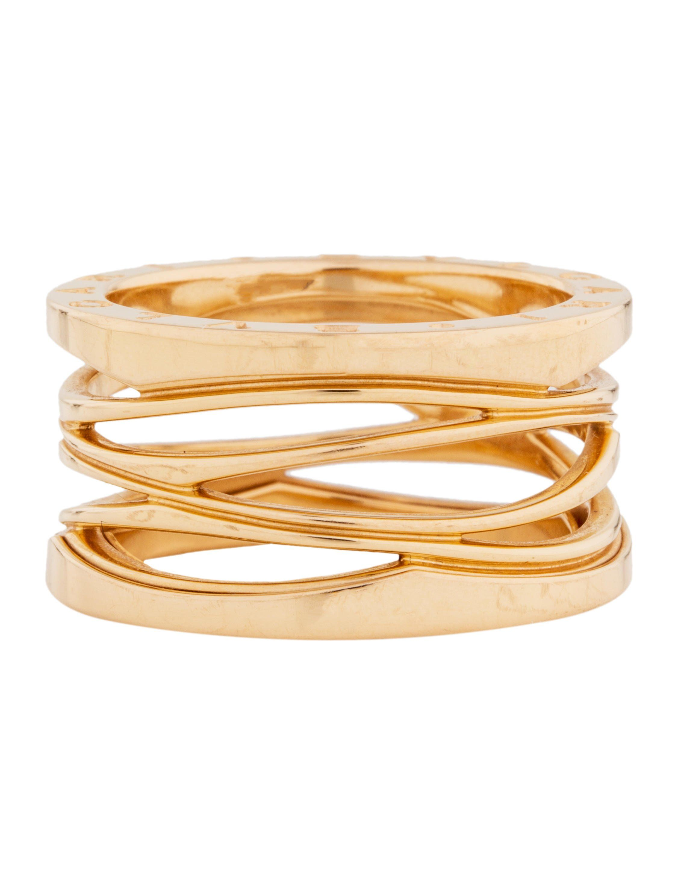 f50fd0d1749dd 18K rose gold Bvlgari Zaha Hadid B.zero1 Design Legend 4-Band ring  featuring designer engraving at edge. Includes pouch.