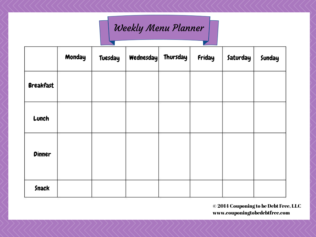 Pics Photos  Weekly Menu Planner Printables  Penny Saver