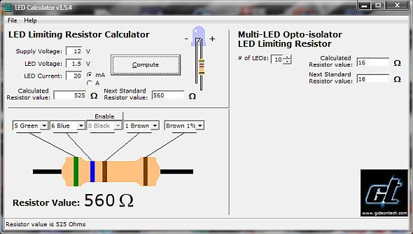 Download X24 Led Calculator u2013 LED limiting resistor calculator and - resistor color code chart