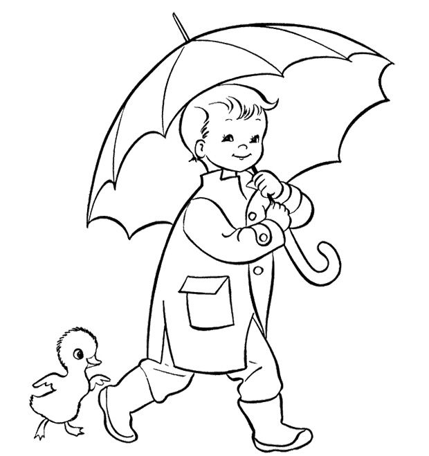 Umbrella And The Children Coloring Pages