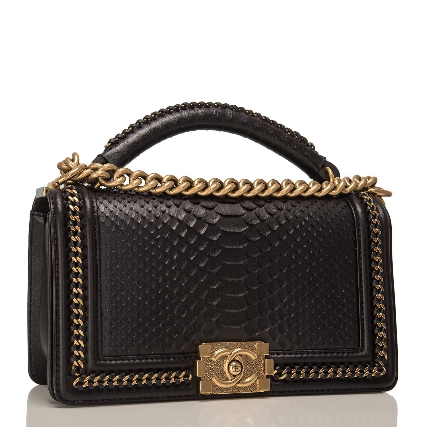 4db056ddf805cc Chanel Black Python Medium Boy Bag with Handle | My 1stdibs ...