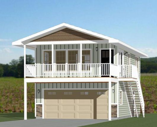 excellent guest house over garage. 20x32 Tiny House  20X32H7K 808 sq ft Excellent Floor Plans