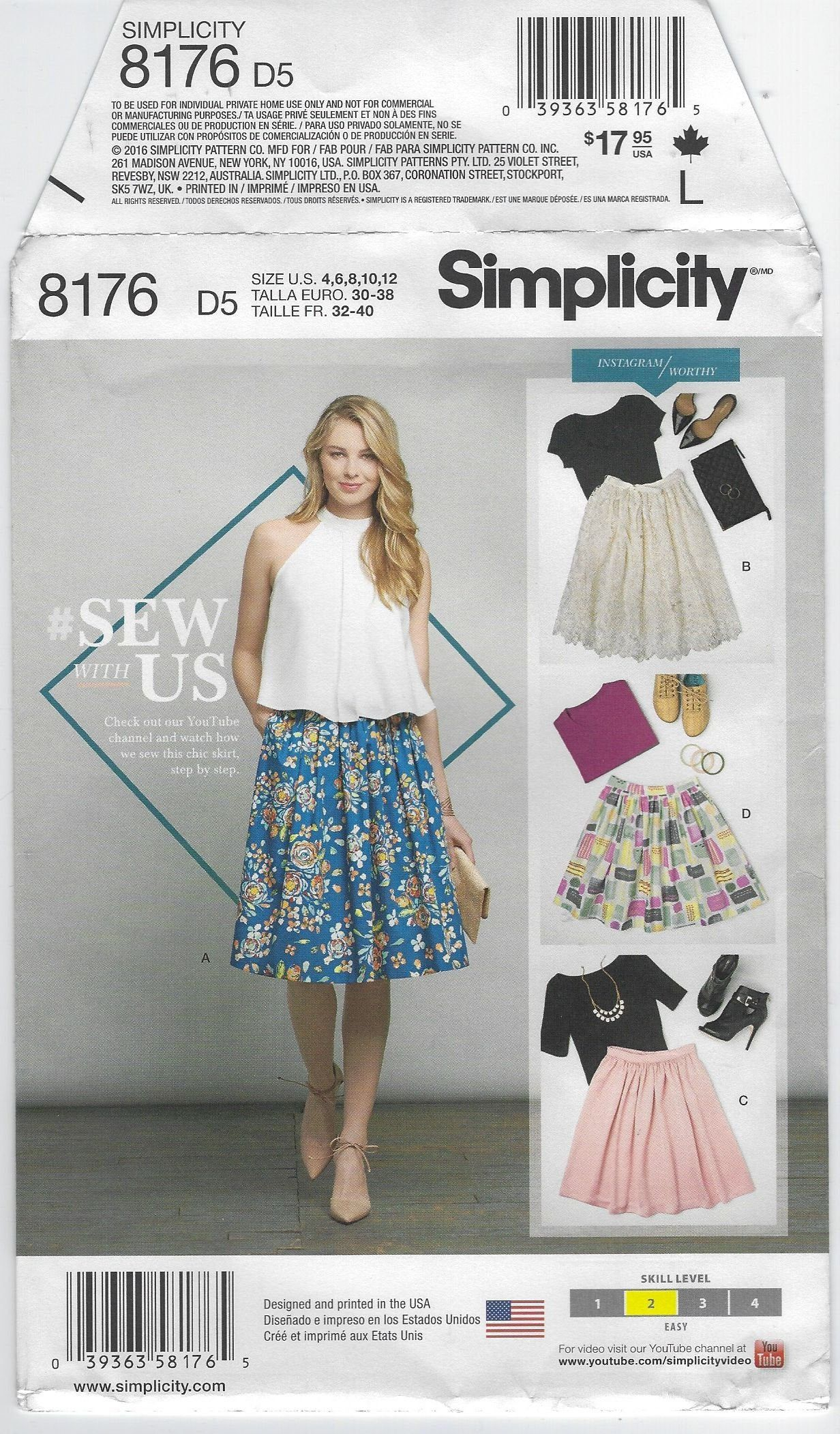 Misses/' Dirndl Skirts in Three Lengths Simplicity Sewing Pattern 8211