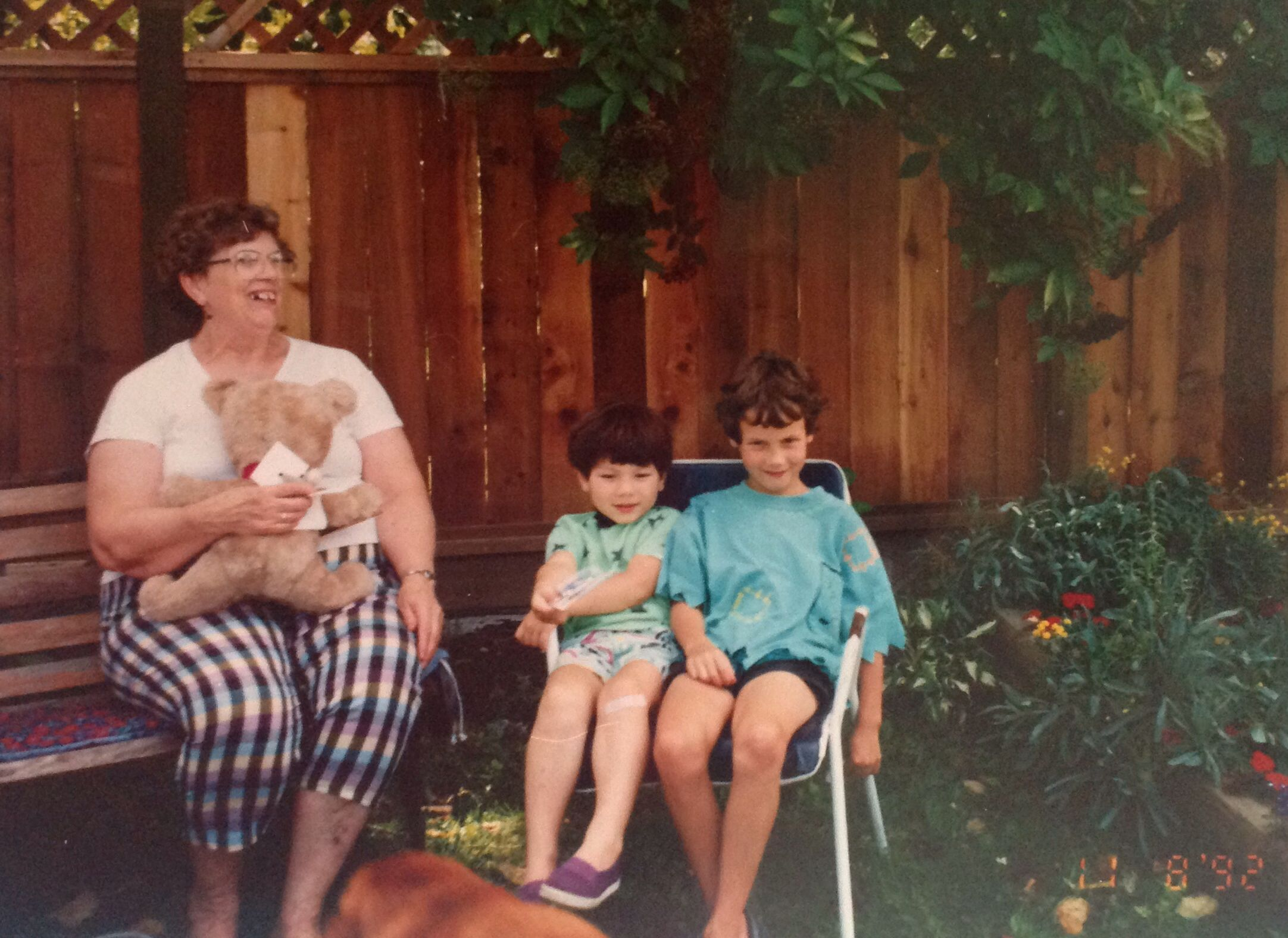 Mum, Joan Anderson, with grandsons, Harry Anderson Seto and Roman Lanzarotta. 9207 Applecross Cr., Surrey. Summer 1992.
