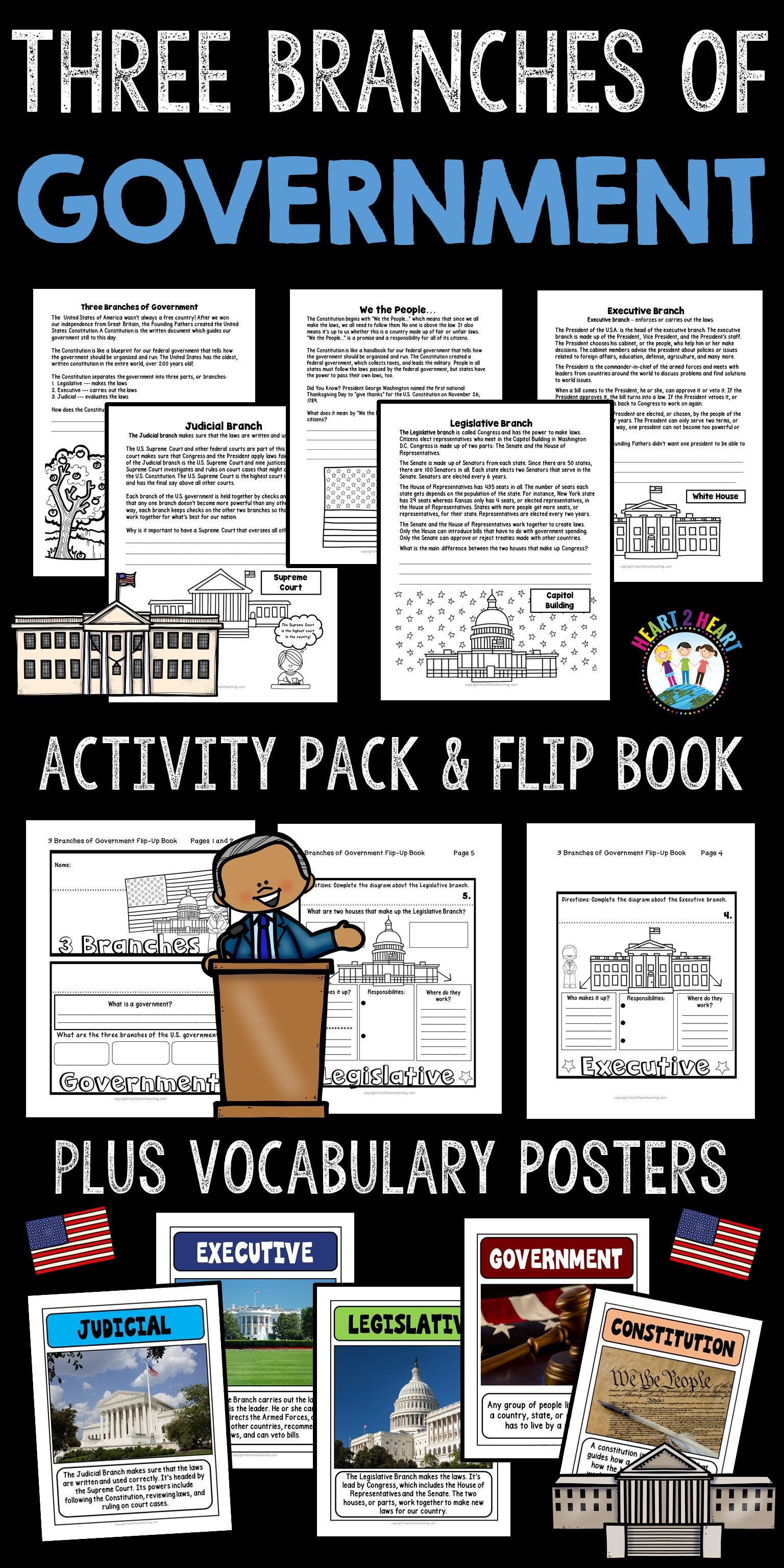 Three Branches Of Government Activity Pack Amp Flip Book