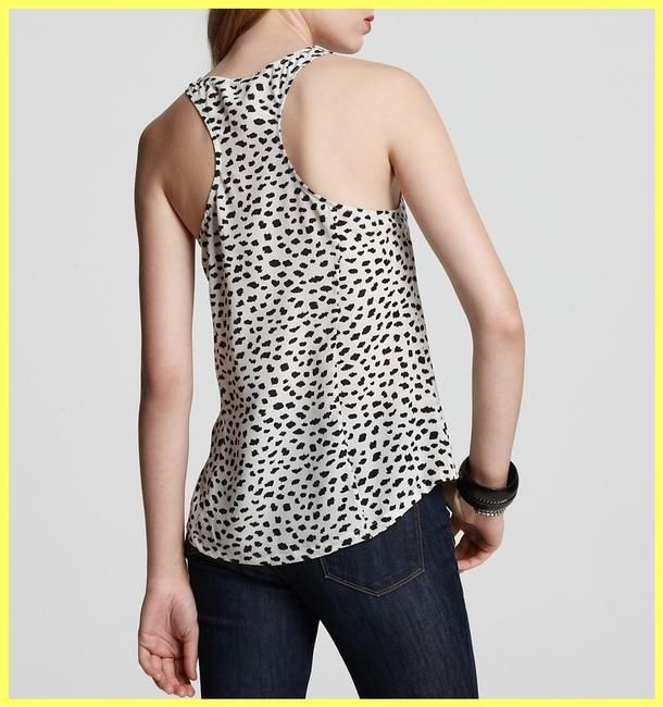 c55fbfd44cad Joie Ivory White   Black Leopard Dot Print Silk Racerback Blouse Tank Top Cami  Size 8 (M). Free shipping and guaranteed authenticity on Joie Ivory White  ...