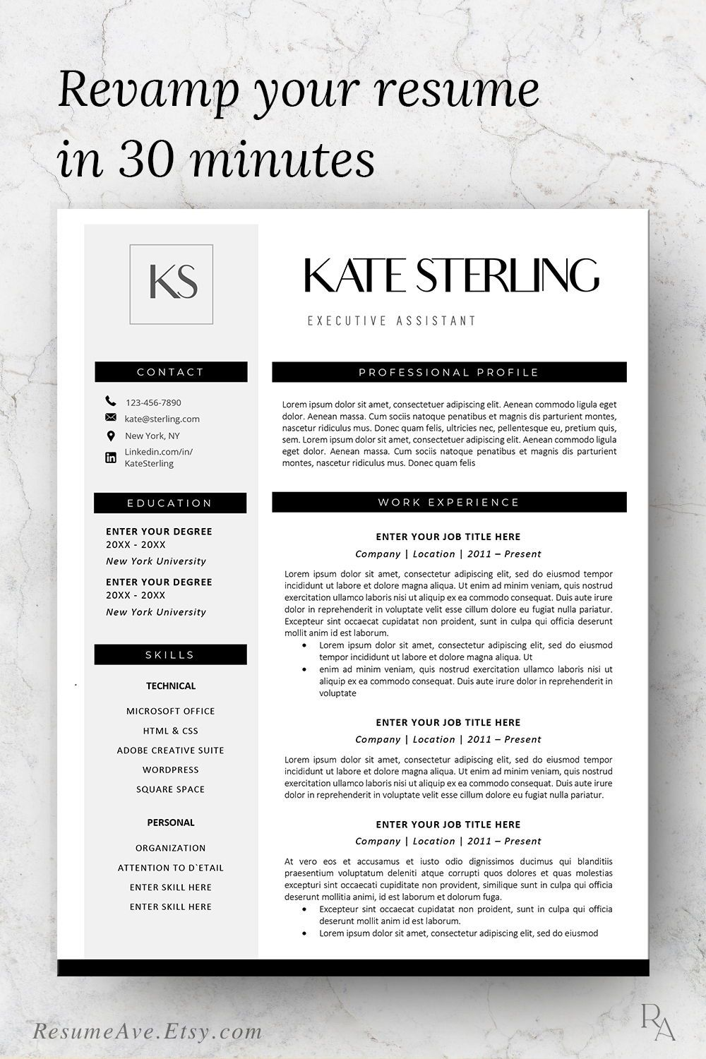Modern design of resume template word download minimal