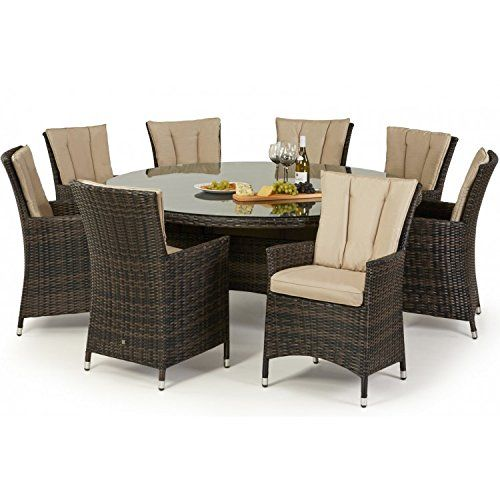 San Diego Rattan Garden Furniture Brown 8 Seater Round Table Set