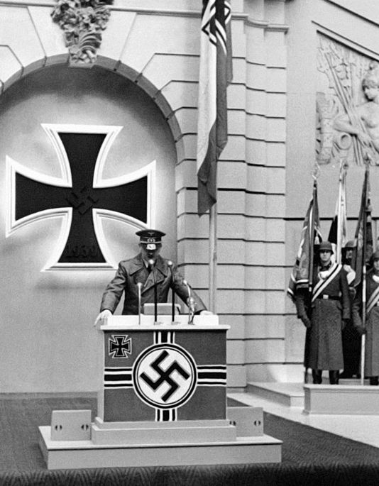 Hitler giving a ceremonious speech in commemoration to the brave Wehrmacht troops.