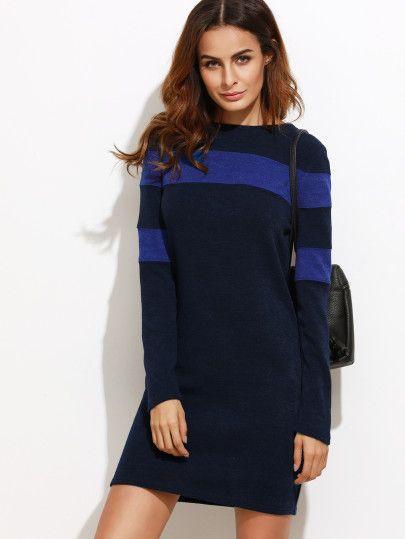 31952cd11dae فستان ضيق Color Block كم طويل Dress P