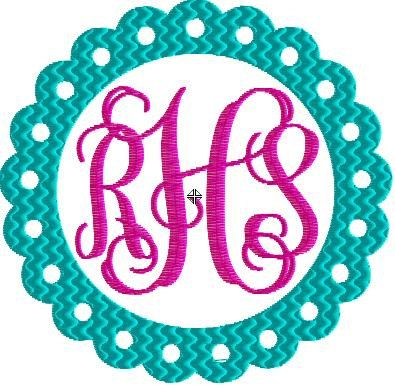 Scalloped Frame Monogram by   Cheapppp embroidery designs  WarEagleDesigns on Etsy