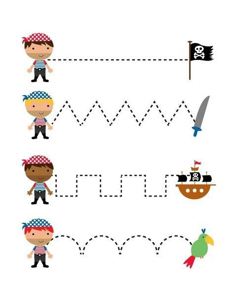 pirate worksheets trace the lines pirates pinterest