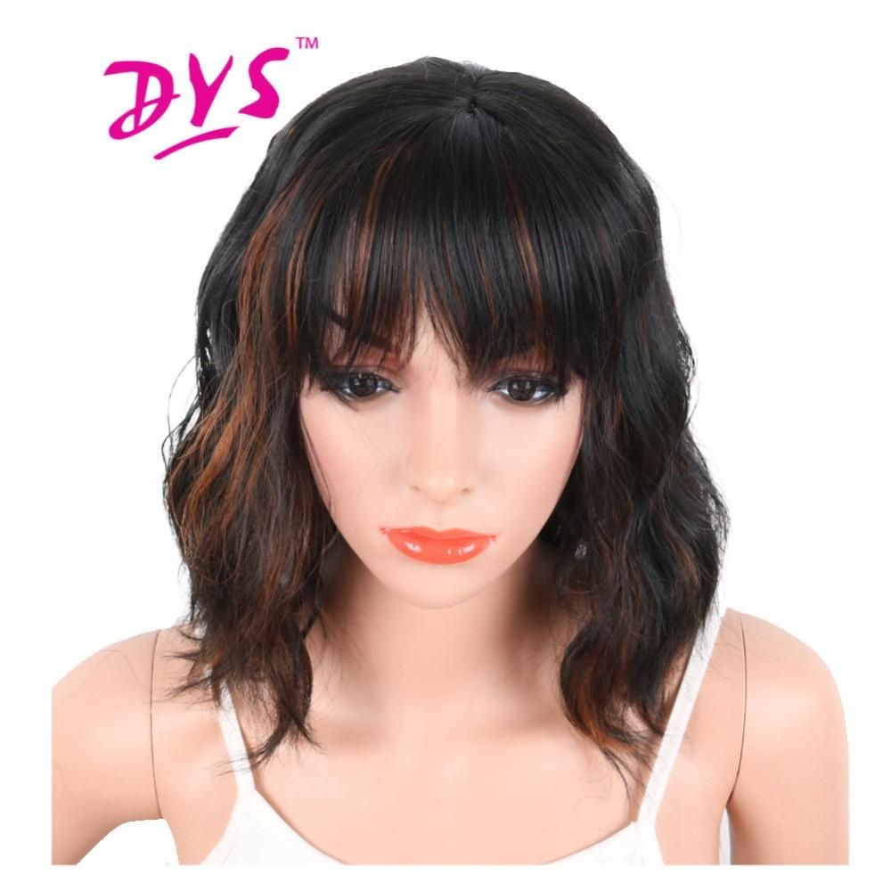 Deyngs black mix brown color synthetic wigs with bangs for black