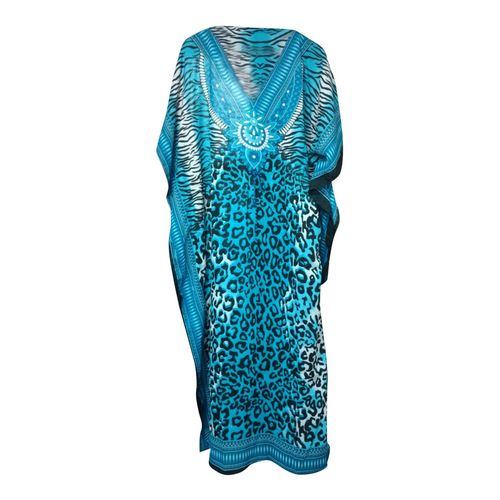 "Animal Print Kaftan Dresses  Long animal prints light weight kaftan dresses in vibrant colors high draw string waist; 100% polyester, length 55"" and fits up to a 70"" bust and waist.  Machine washable; gentle cycle and very low cool iron. Made in India."