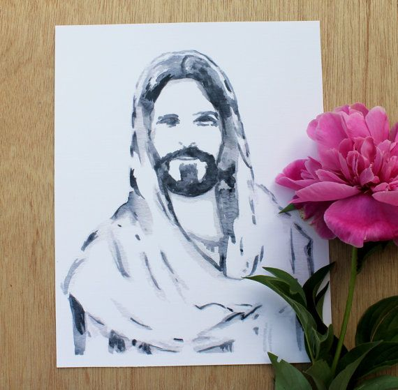 Printable Watercolor Christ Portrait Christ Portrait Christ