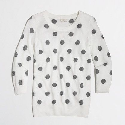 J.Crew Factory - Factory intarsia Charley sweater in polka dot  **With dark skinny jeans and boots?? Maybe a chambray button down under?