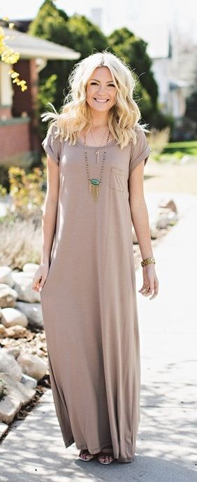 45883d5d48c Loose Fit Maxi Dress with Pocket Detail