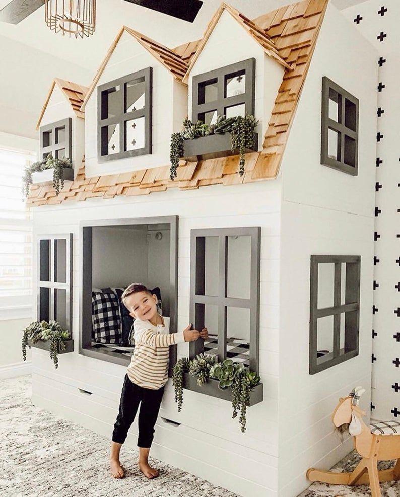 NOUVEAU * * * #OurFauxFarmhouse édition spéciale de notre populaire Mia Country Cottage Bed, Loft, lit superposé, Playhouse avec Trundle