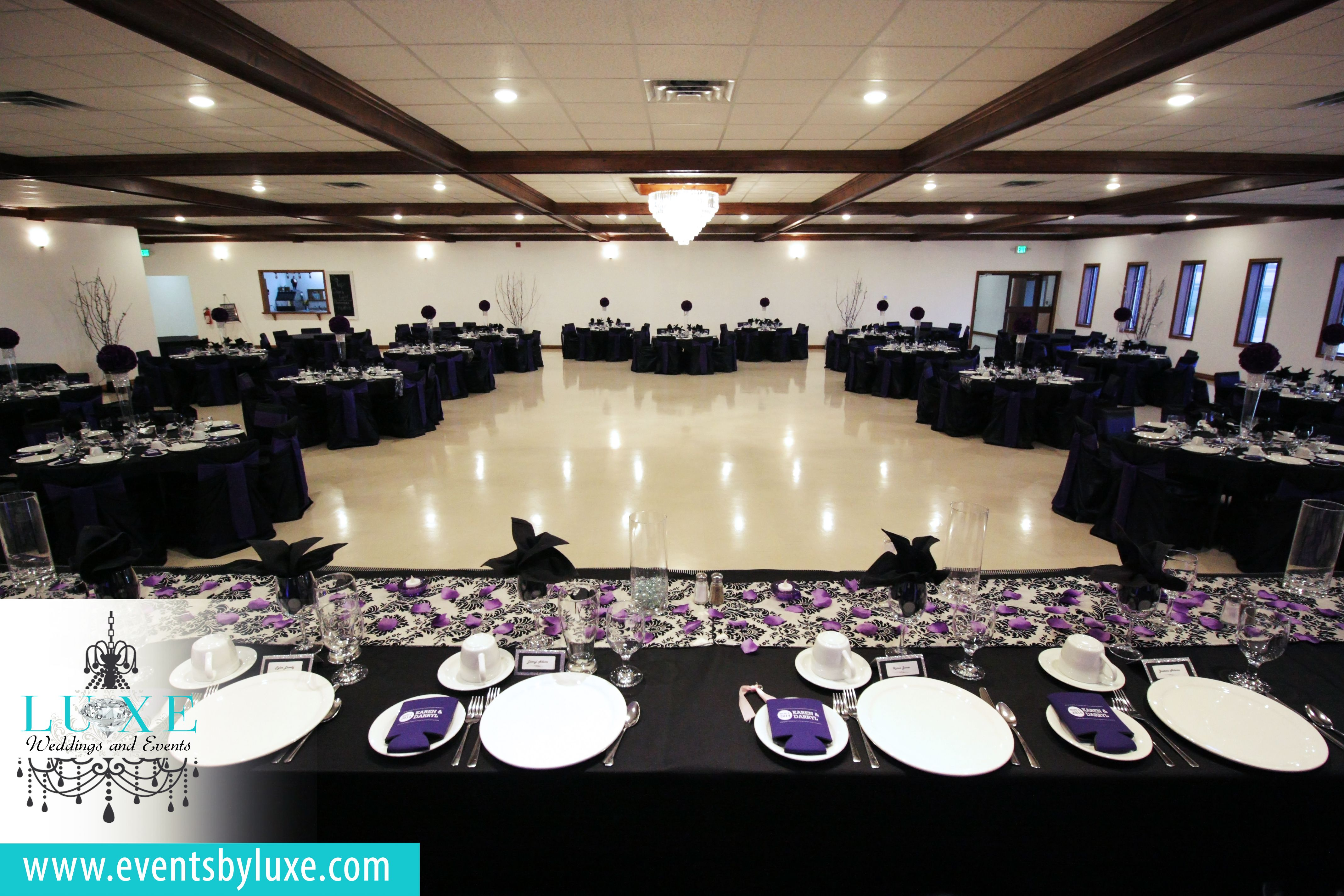 Purple Black And White Wedding Decor Black And White Head Table