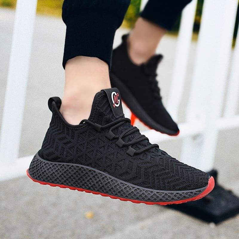 Men Flyknit Shoes Fashion Running Shoes Trend Sneakers Sport Shoes is part of Shoes - Outer MaterialFlyknit Inner MaterialTextile Sole MaterialRubber ColourBlack&Red,Black&White,Grey Closure StyleLaceup StyleSport shoes