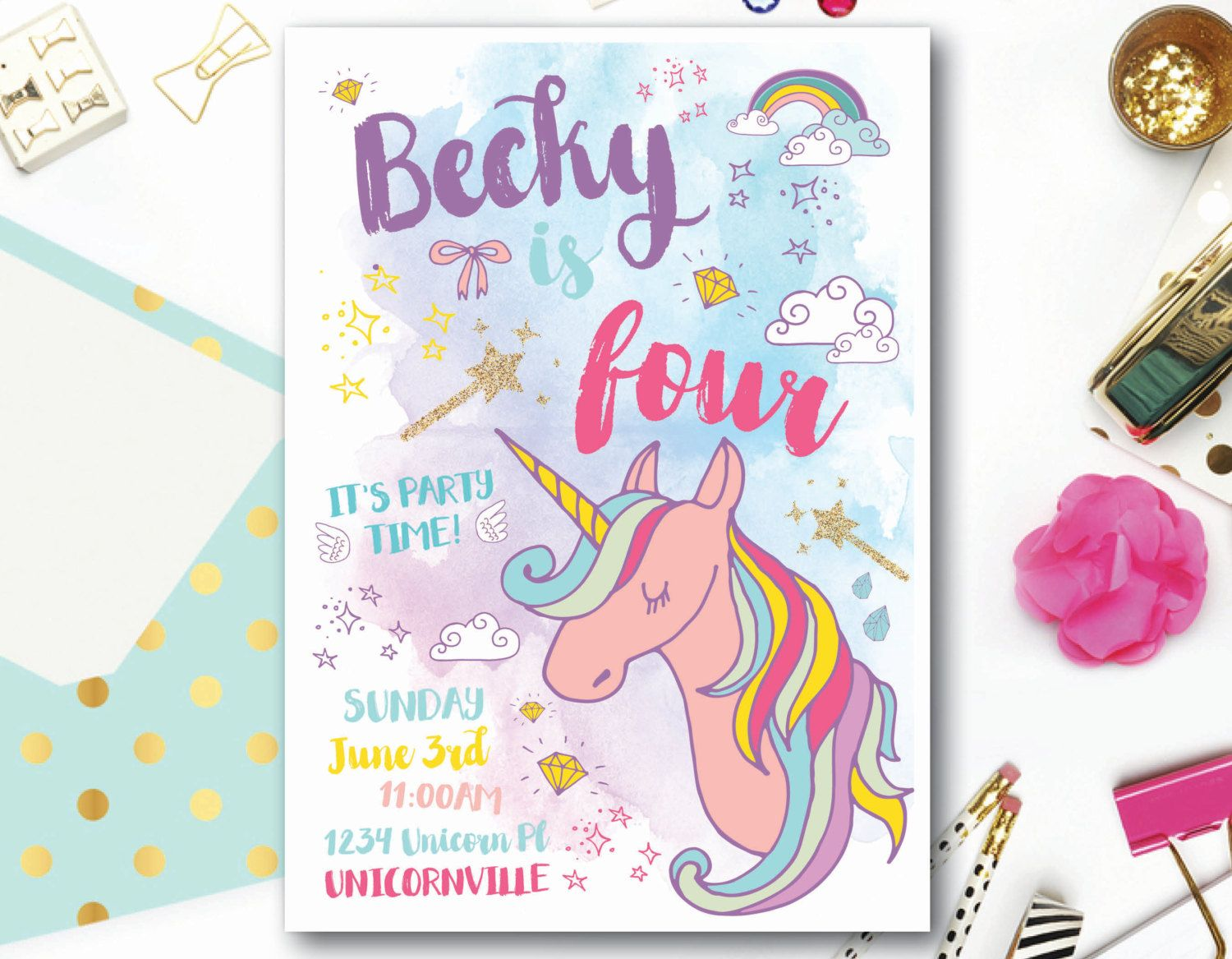 girl birthday invitation unicorn birthday invitation unicorn