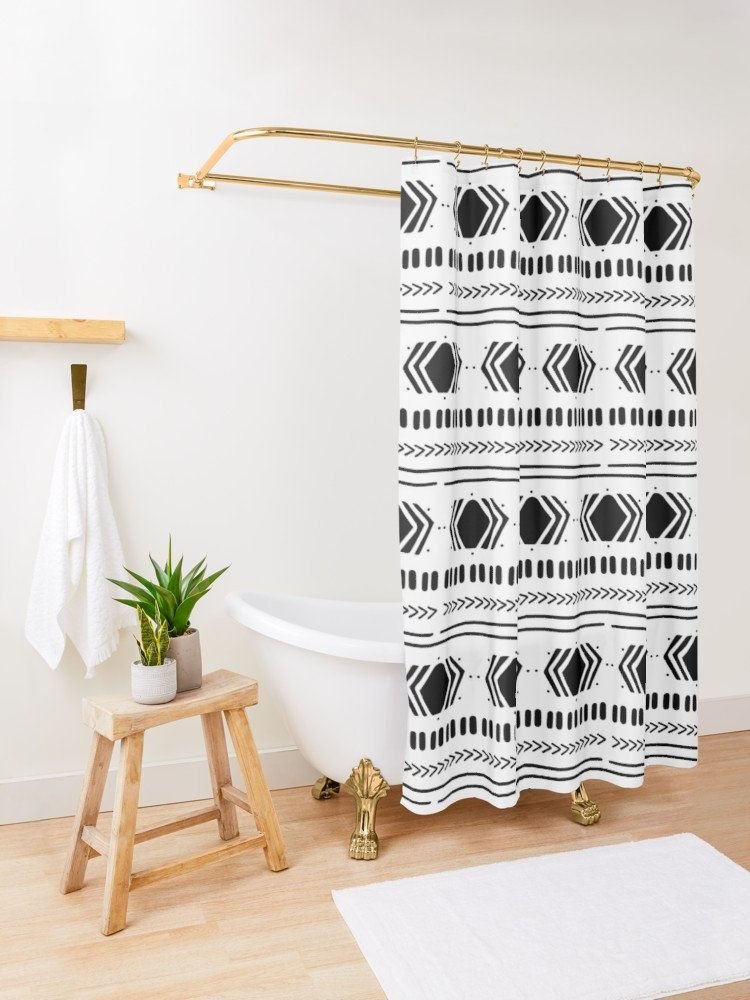 Black And White Vegan Scandi Boho Shower Curtain Boho Shower Curtain Scandinavian Shower Curtains Boho Shower