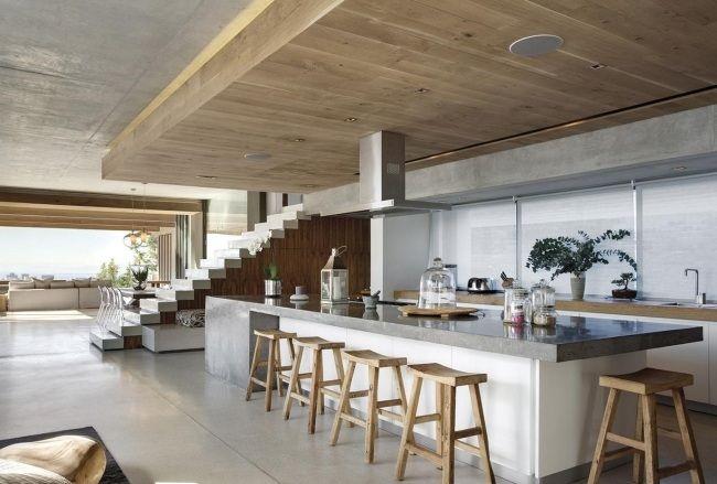 moderne küche wohnideen weiß glas rückwand graue arbeitsplatte - k che arbeitsplatte glas