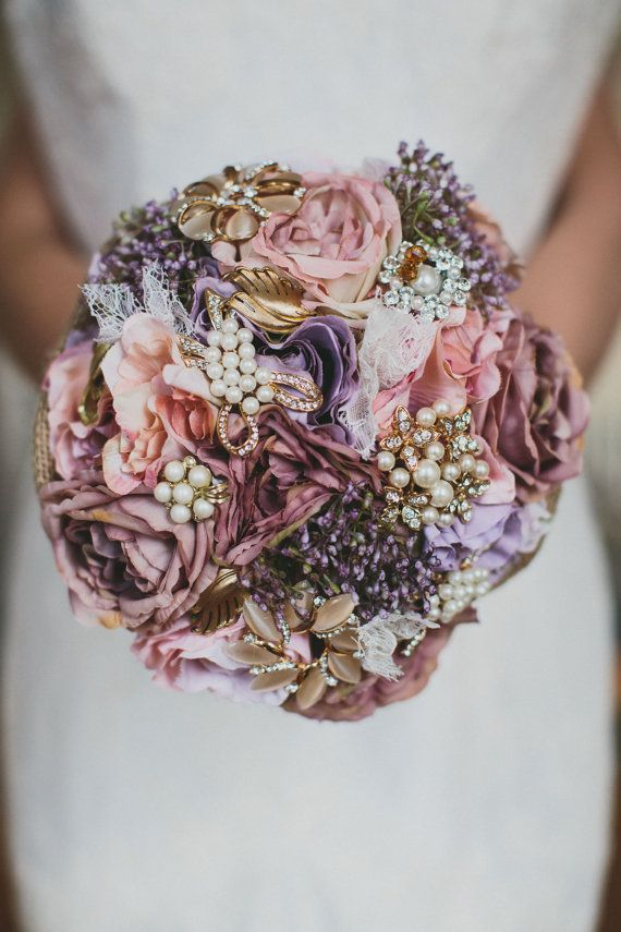 Dusty pink flowers, brooch bouquet, bridal bouquet, babies breath ...