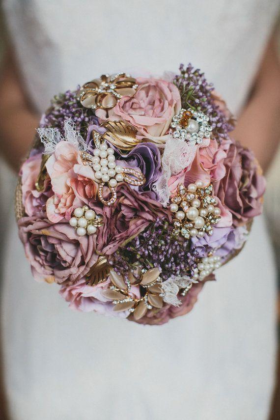 Dusty pink flowers, brooch bouquet, bridal bouquet, babies breath ...