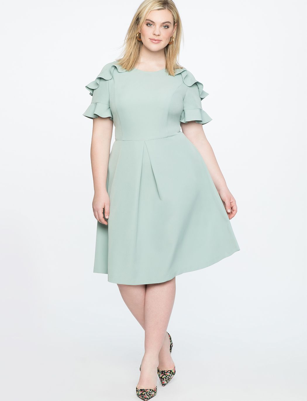 f5105c9dc7 Ruffle Detail Fit and Flare Dress