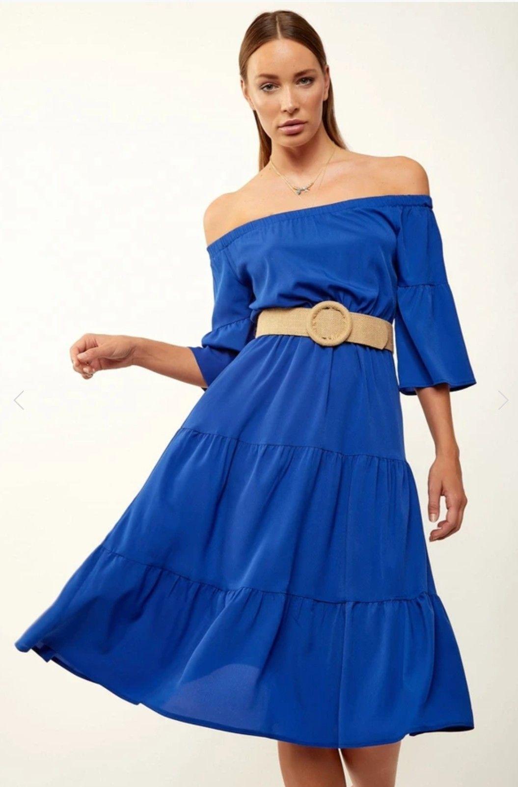 فستان ميدي أزرق برقبة بدون أكتاف نسائي Fashion Off Shoulder Dress Dresses